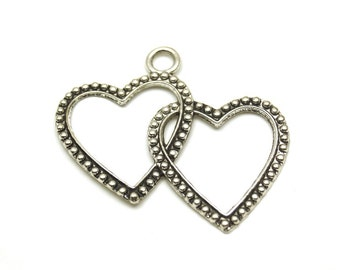 1 pc Matte  Silver Plated Base Twin Heart  Pendant - Heart 57x55mm-(400-027SP)