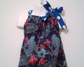 Spiderman Wall Crawler Pillowcase Dress custom size 3m, 6m, 9m, 12m, 18m, 2T, 3T, 4T