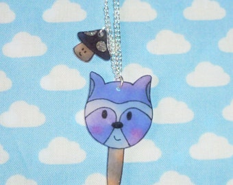 Lollypop Racoon and Toadstool Necklace