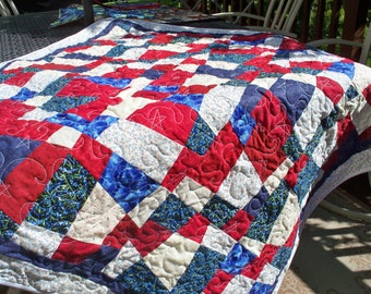 "AMERICAN LIBERTY QUILT, 46"" Square Red, White & Blue Handmade Quilt"