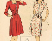 1940s Du Barry 5791 Vintage Sewing Pattern Misses Frock, Afternoon Dress Size 12 Bust 30