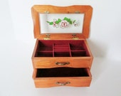 Dresser Jewelry Box Wooden Showcase Tray, 2 Drawer Vanity Box, Ring Roll Organizer, Red Lining,  Vintage Ladies Rose Design See Through Top