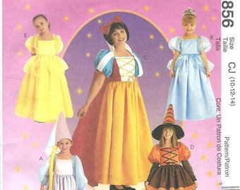 McCall's 2856 Girls' Storybook Costumes PATTERN - Rapunzel, Cinderella, Snow White, Pretty Witch, Belle - Size 10, 12, 14