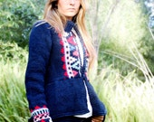 hand knit cardigan HEIDI Fair Isle graphic design peplum geometric navy blue and red