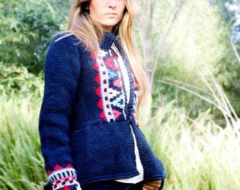 ON SALE hand knit cardigan HEIDI Fair Isle graphic design peplum geometric navy blue and red
