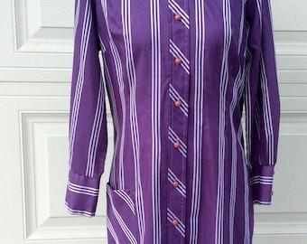 VTG Purple Striped Dress // Long Sleeved // Button Up // Vertical Stripes // Retro Dress // Midi
