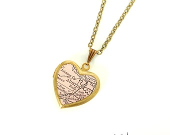 Austin Map Necklace, Vintage Brass Heart Locket, Antique Map Jewelry, Map Locket