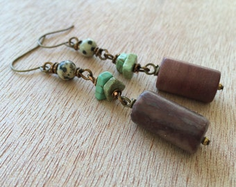 E541 Jasper and Turquoise Dangle Earrings