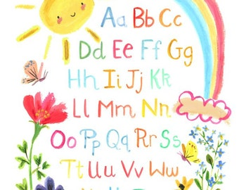 Woodland Nursery Art--SUNNY DAY ALPHABET--by Kit Chase