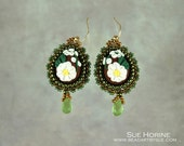 Handmade Polymer Clay Floral Cabochons with Faceted Glass Briolette Bead Embroidered Earrings
