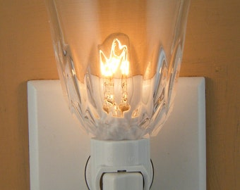 """Tall 3 1/4"""" High Clear Pressed Glass With Cut Glass Look  Custom Made Night Light"""