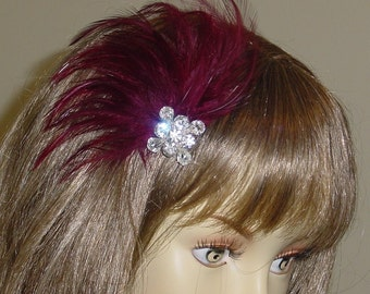 Burgundy Feather Fascinator with Rhinestone Sparkle
