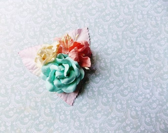 Aqua Blue Apricot Cream Pink Roses Lilies Handmade Millinery Corsage baby kids hair bow headband ooak clip supply Vintage Style Flowers