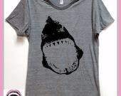 SHARK shirt. UNISEX. for the Love of Shark Week. Shark lover gift. Grey Heather tri blend super soft t- shirt.hand print. Women Men clothing