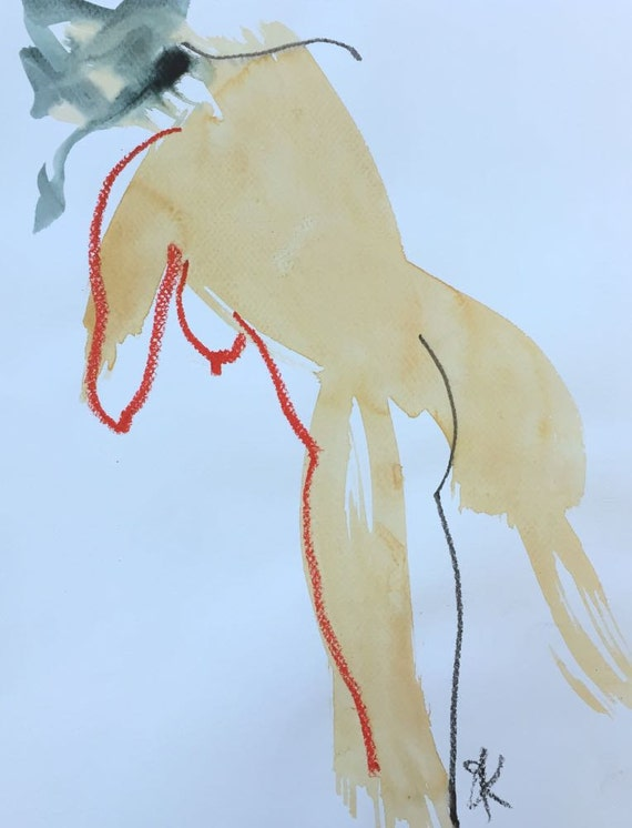 Nude painting of One minute pose 85.1  Original painting by Gretchen Kelly