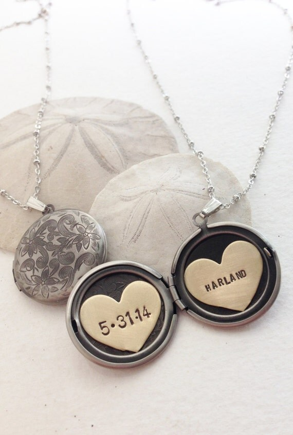 Personalized jewelry, Custom name necklace, new baby name birthdate necklace, new mom gift Heart jewelry Personalized locket necklace