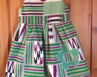 Girls African print kente dress with appliqué flower, 2-4 years