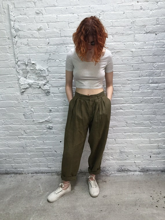 RESERVED 80s high waisted linen pants / khaki pants / high