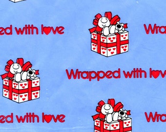 Vintage Ziggy Love Paper Gift Wrap Wrapped With Love One Sheet Sky Blue Red Hearts Wrapping Paper Scrap Book Blue Gingham