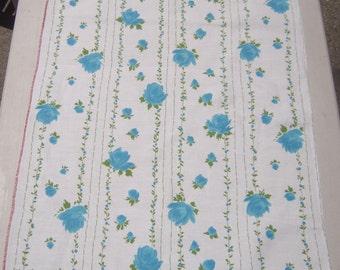 Vintage Towel Beautiful Blue Roses