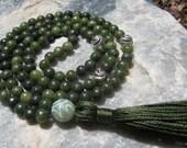 Jade Mala - Prayer Beads - Buddhist Rosary - Green