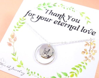 ASL Sign for I LOVE You, I love you necklace, asl jewelry, sign language I love you necklace, friendship necklace, Hand sign necklace