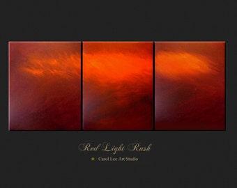 ABSTRACT art triptych custom Painting 48'wide original contemporary art on canvas Red Light Rush Carol Lee aka Leearte