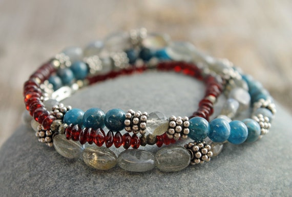 Garnet Wrap Bracelet / Necklace with Labradorite and Bali style Silver