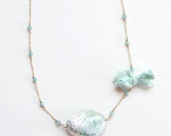 Seashell and mint opal crystal necklace designed with SWAROVSKI® Crystals on 14k goldfill