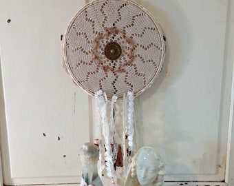 Handmade Dream Catcher in Shades of White