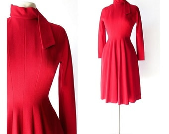 Pauline Trigere Dress / Vintage 1960s Dress / Red Dress / 60s Dress / XS