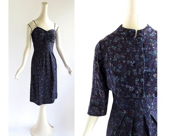 1950s Cocktail Dress | Blauer Hof | Brocade Dress with Jacket | 50s Dress | XS