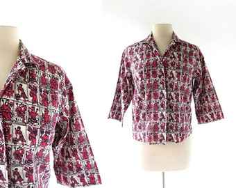 Novelty Print Blouse / Medieval Court 1960s Blouse / 60s Top / Medium M