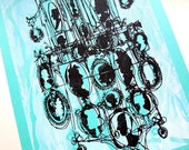 CAMEOS #022 | retro silhouettes | black and aqua blue | original fine art screenprint by Kathryn DiLego