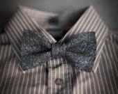 Men's bow tie pre tied black dark grey shabby chic necktie informal handmade gift for him Original wool bow tie with textured surface