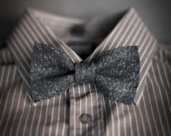 Men's bow tie pre tied black dark grey shabby chic necktie informal handmade gift for him Original wool bowtie with textured surface