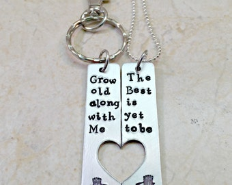 Couples Keychain, Couples Necklace, Grow Old Along With Me, The Best Is Yet To Be, Hand Stamped Heart Cutout, Anniversary Gift, Love Jewelry
