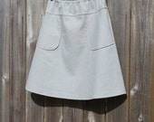 Cotton Linen Blend A-Line Skirt with Pockets, Modern, Smoke Gray, More Colors Availible, Custom Made, You choose Fitted, Comfy, Loose
