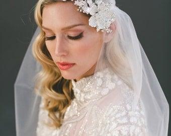 Wedding Veil, Crystal Veil, Juliet Cap Veil, Juliet Veil, Bridal Veil, Veil with Bling, Silver Veil, Beaded Veil, Bridal Headpiece, 1567