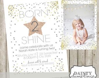 Born To Shine - Double Sided Birthday Party Invitation
