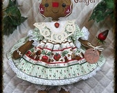 """Primitive Raggedy 19"""" """"Mama Ginger""""~w/strawberry~Gingerbread Doll Collection"""