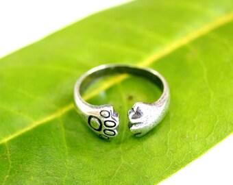 Cat Paw Ring Silver Kitty Cat Paw Ring Kitten Paw Print Ring 465