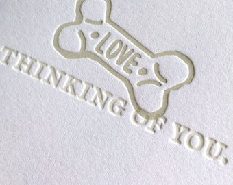 "Dog Condolence or Get Well Letterpress ""Thinking of You"" Card"