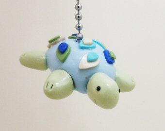 Sea Turtle Fan Pull - Under the Sea Nursery - Nautical Nursery - Nautical Fan Pull - Children's Under the Sea Room Decor - Polymer Clay