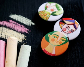 Girls brooches SET, 3 illustrated pin portraits