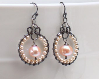 Pearl Hoop Earrings, Beaded Pearl Dangles, Original Artisan Handmade Sterling Earrings, WillOaks Studio Design, Select Peach White or Gray