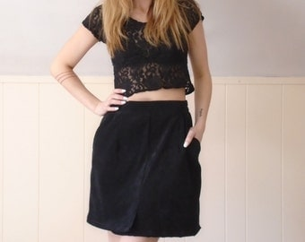 90s Black Microsuede Mini A Line Secretary Skirt - M L Petite