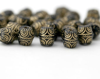 Acrylic Beads Black Gold Etched Carved Barrel Beads Bicone 10mm (20)