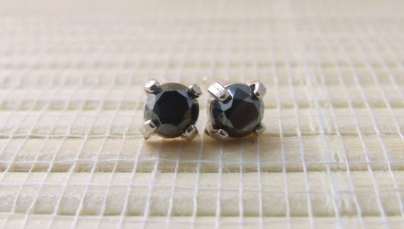 Hematite Stud Earrings Sterling Silver 4mm