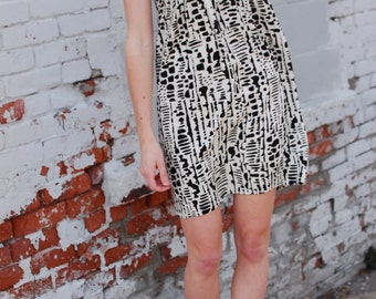 Tribal Mini Dress. Abstract Black and White Sleeveless Dress Bohemian Tribal Kinfolk Inspired. Simple Flowing Spring Summer Bold Pattern Ink
